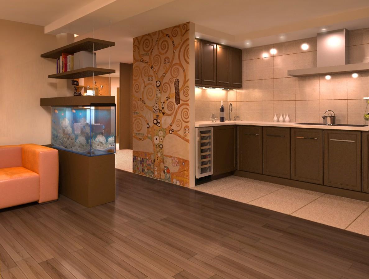 Дизайн кухня вітальня